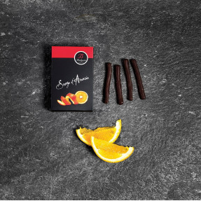 Orange peels candied and covered with dark chocolate