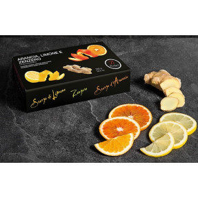 Orange, lemon and ginger peels candied and covered with...