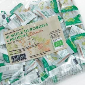 Caramelle di miele di robinia, propoli e pino mugo, bio