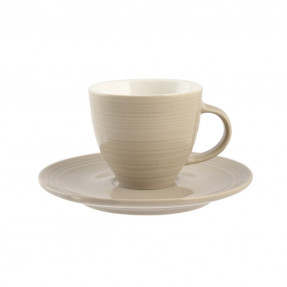 Set 6 tazzine caffè mille righe con piattino, New Bone China