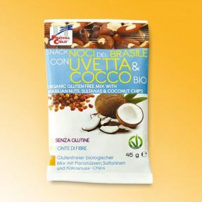 Snack con Noci del Brasile, Uvetta e Cocco, bio